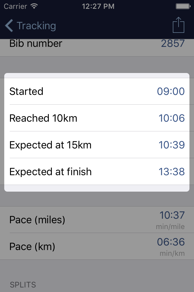 Screenshot of Brighton Marathon app, showing a runner who started at 09:00, reached 10km at 10:06, is expected at 15km at 10:39 and expected to finish at 13:38