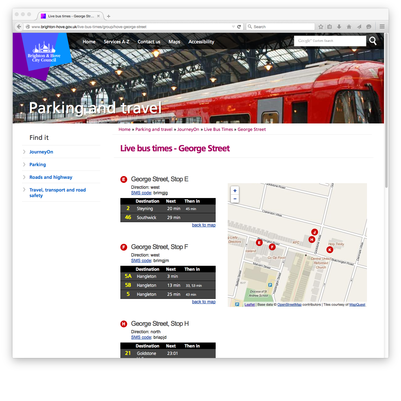 A screenshot of the live bus times page for George Street in Hove