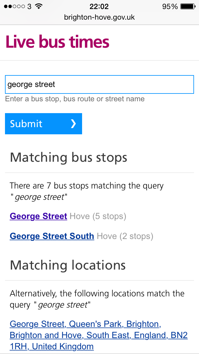 Screenshot showing completed search for 'George Street' with suggested bus stops and locations