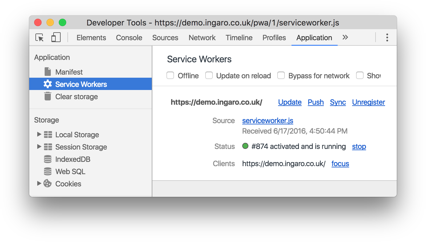Screenshot of Chrome developer tools, showing the service worker running.